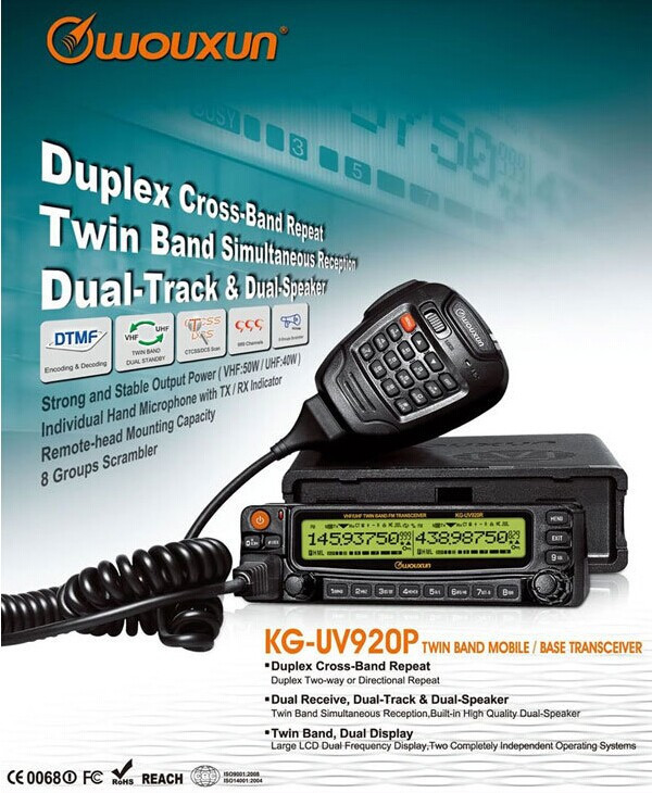 DHL Free shipping Car radio walkie talkie UHF/VHF 999CH WOUXUN KG UV920P Dual Band Mobile Vehicle Radio DTMF Cross Band Repeater