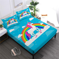 Kids Cartoon Sheet Set Unicorn Bed Sheet Colorful Rainbow Printed Fitted Sheet Flat Sheet Bed Linens Pillowcase D45