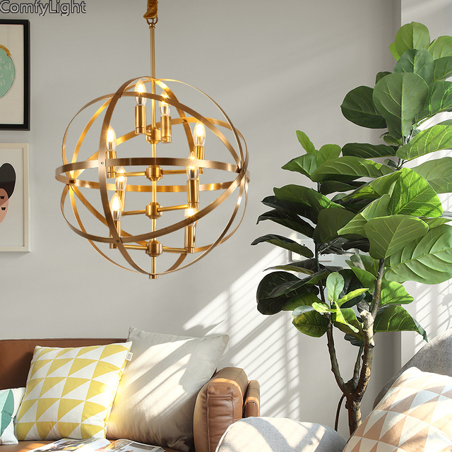Modern Golden Led Chandeliers Lighting Chrome Copper Dining Room Led Pendant  Chandelier Lights Living Room Hanging Lamp Fixtures