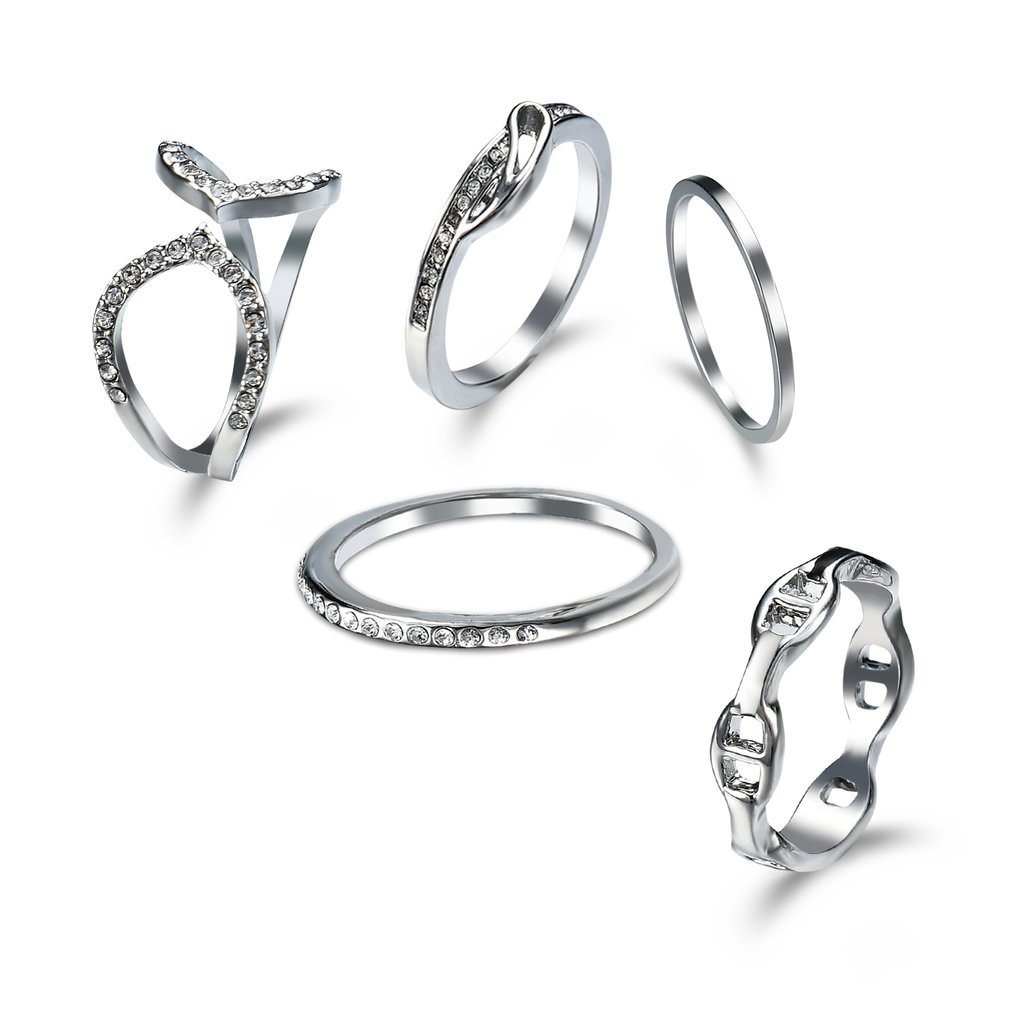 GENBOLI 1 Set Women Rings Set Fashion Ring Elegant Pearl Jewelry Rings Jewelry Best Gift