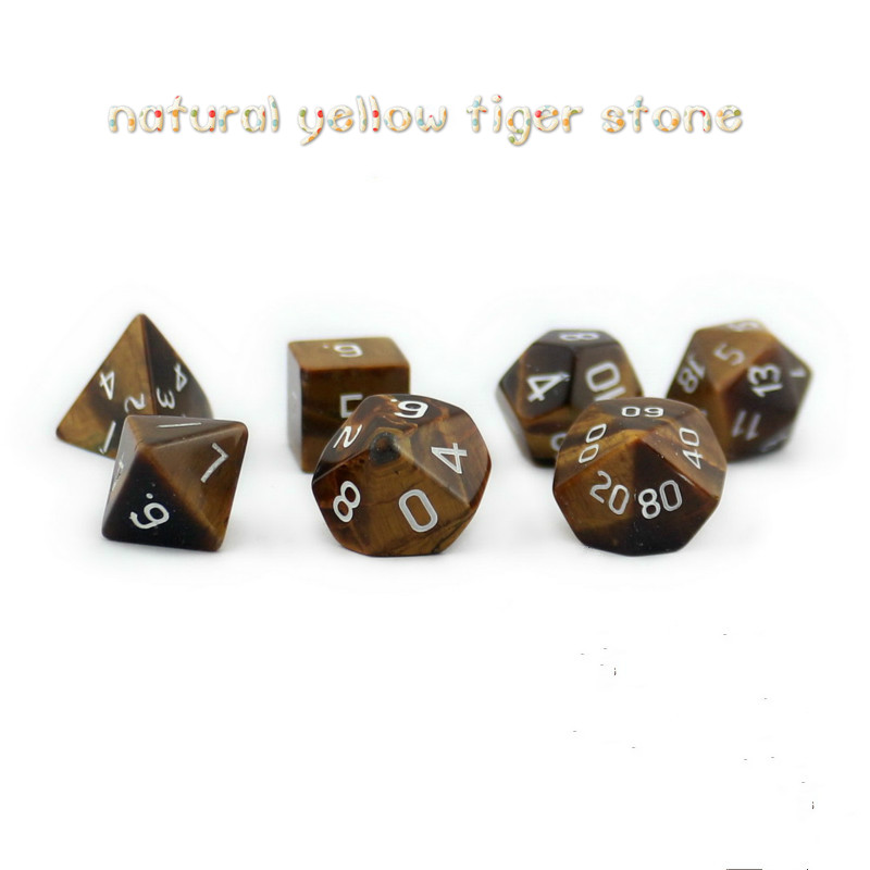 цена на 7Pcs/set New Hot Dragon and Dungeon D20 System Natural Yellow Tiger Stone Multifaceted Digital Dice