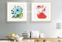 2 piece đóng khung nhỏ hoa tươi và ấm đun nước đồng bằng thanh lịch phong cảnh hiện đại canvas vẽ tranh wall art đối living room nhà trang trí nội thất
