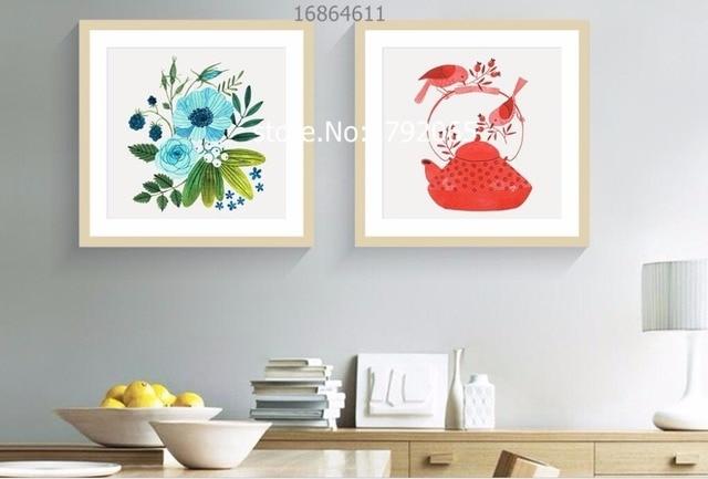2 piece framed small fresh flower and kettle plain elegant scenery ...