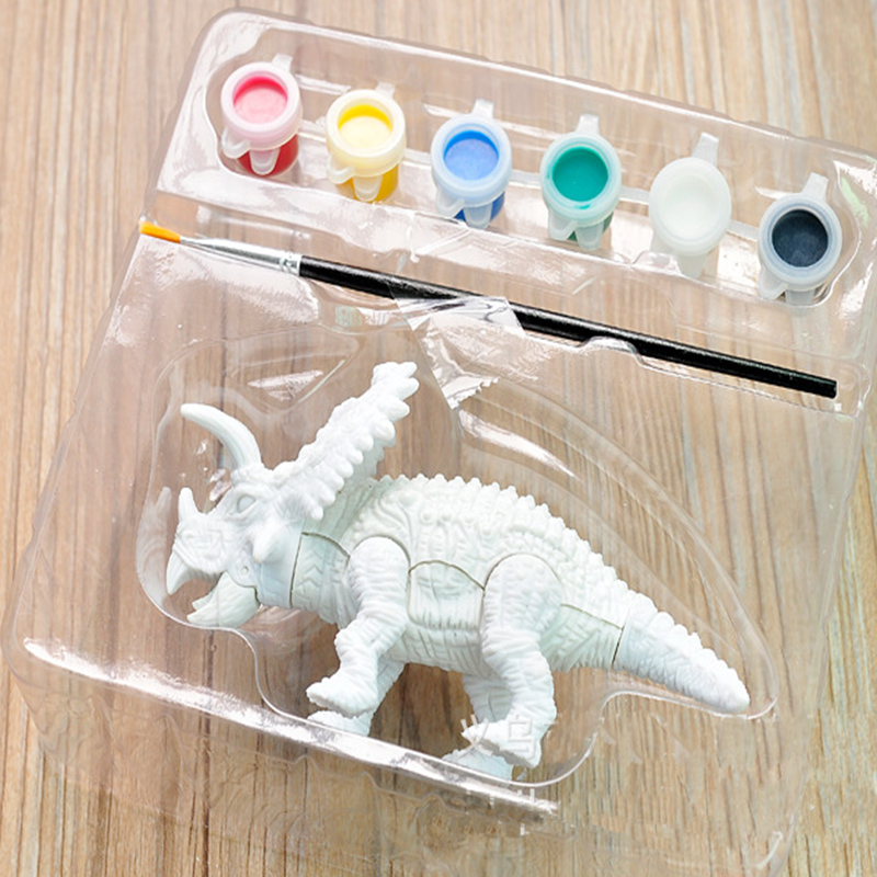 1Piece Plastic Dinosaur Model Hand Painted Pen Color Painted Plaster Children Doll DIY Model 3D Dinosaur Film for Kid Gift ToysLearning & Education