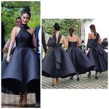 יפה קרסול אורך שושבינה שמלות 2020 ללא משענת גדול קשת קצר שחור ורוד השושבינה חתונת אורח המפלגה שמלות בתוספת גודל