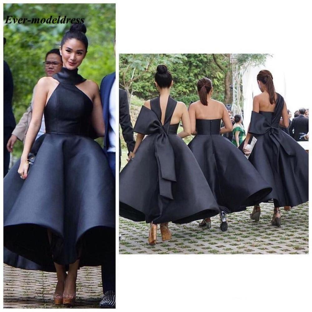 Belle cheville longueur robes de demoiselle d'honneur 2019 dos nu grand noeud court noir demoiselle d'honneur mariage invité fête robes grande taille