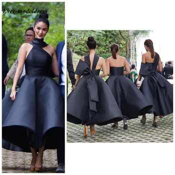 Lovely Ankle length Bridesmaid Dresses 2019 Backless Big Bow Short Black Maid of Honor Wedding Guest Party Gowns Plus Size - DISCOUNT ITEM  51% OFF All Category