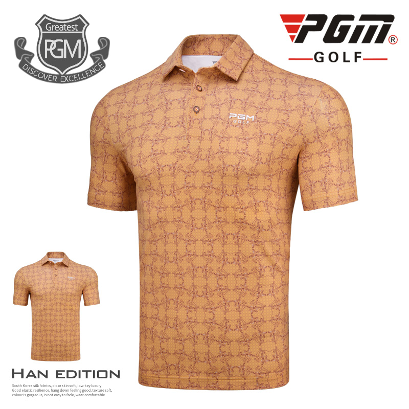 PGM New Golf Clothing Mens Short Sleeve T-shirt Breathable Sportswear Spring Summer Men Breathable elastic quick dry polo shirt