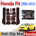 for Honda FIT Jazz 2009-2013 Anti-Slip Rubber Cup Cushion Door Groove Mat 2010 2011 2012 GE8 Accessories Car Styling Sticker