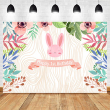 Neoback Woodland 1st Birthday Backdrop Cute Pink Rabbit Tropical Leaves Wood Texture Photography Background