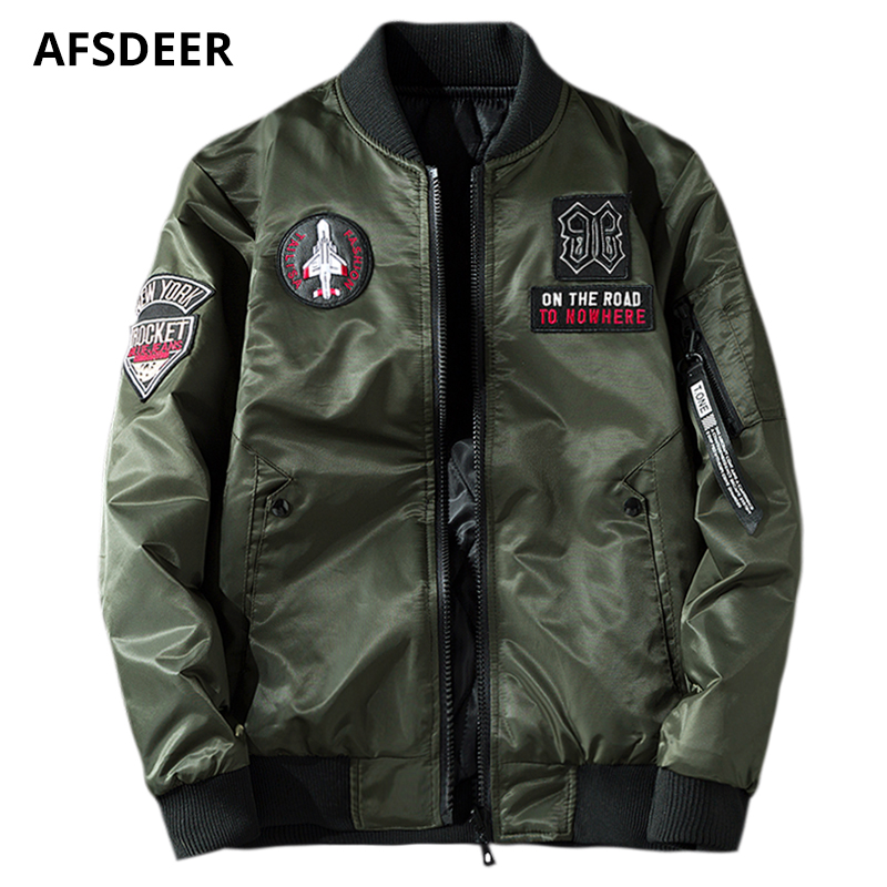 e3f7ca28d Winter Thick Bomber Jacket Men Pilot with Patches Casual Both Side ...