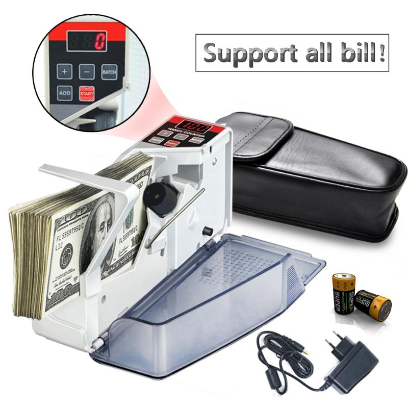 Mini Portable Handy Money Counter for Most Currency Note Bill Cash Counting Machine with Leather Bag EU-V40 Financial Equipment цена