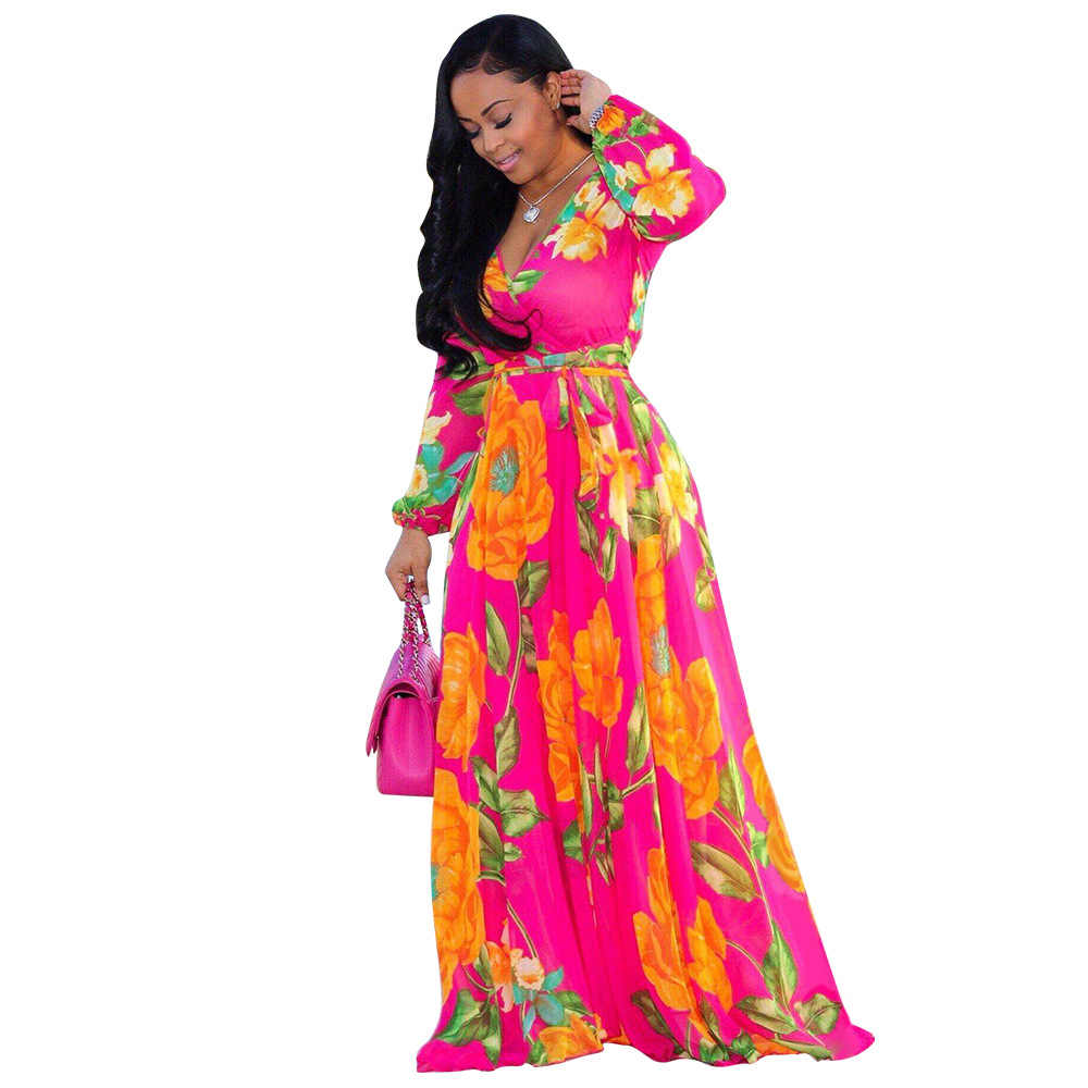 Винтажное шифоновое платье с цветочным принтом 2019, длинное платье в пол с глубоким v-образным вырезом и длинными рукавами-фонариками, весеннее пляжное макси-платье больших размеров