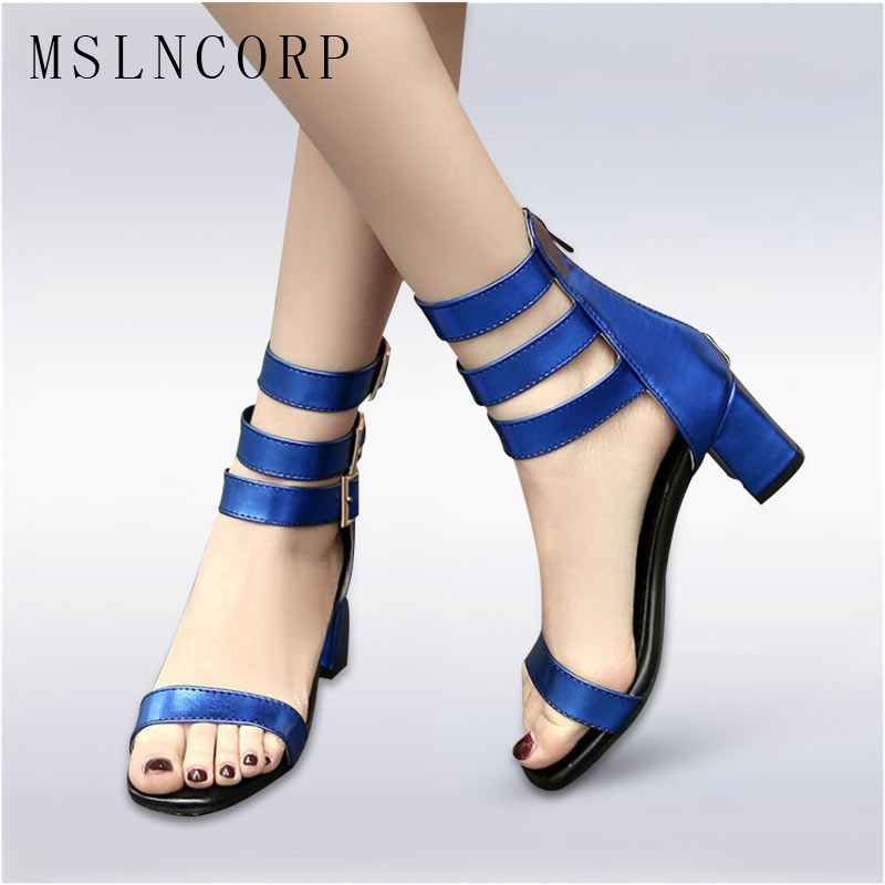 Plus Size 34-48 Fashion Summer Trendy Sandals Women Ankle Strap Concise Chunky High Heels Pumps Shoes Boots Ladies Dress Party