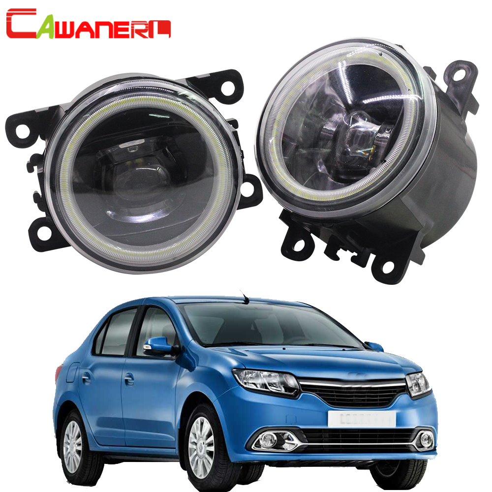 Cawanerl For 2004 2015 Renault Logan Car Accessories LED Fog Light Angel Eye DRL Daytime Running