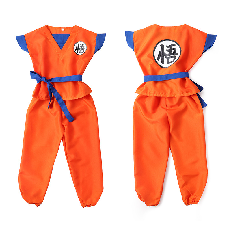 6PCS Dragon Ball Z Clothes Suit Son Goku Cos Costumes Children Kid Wig Clothes Set For Christmas Gift