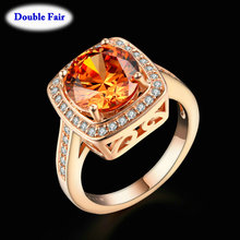 Big Crystal Framed Wedding Finger Ring For Womens Rose Gold Color Fashion Brand High Quality Jewelry anel DWR057()