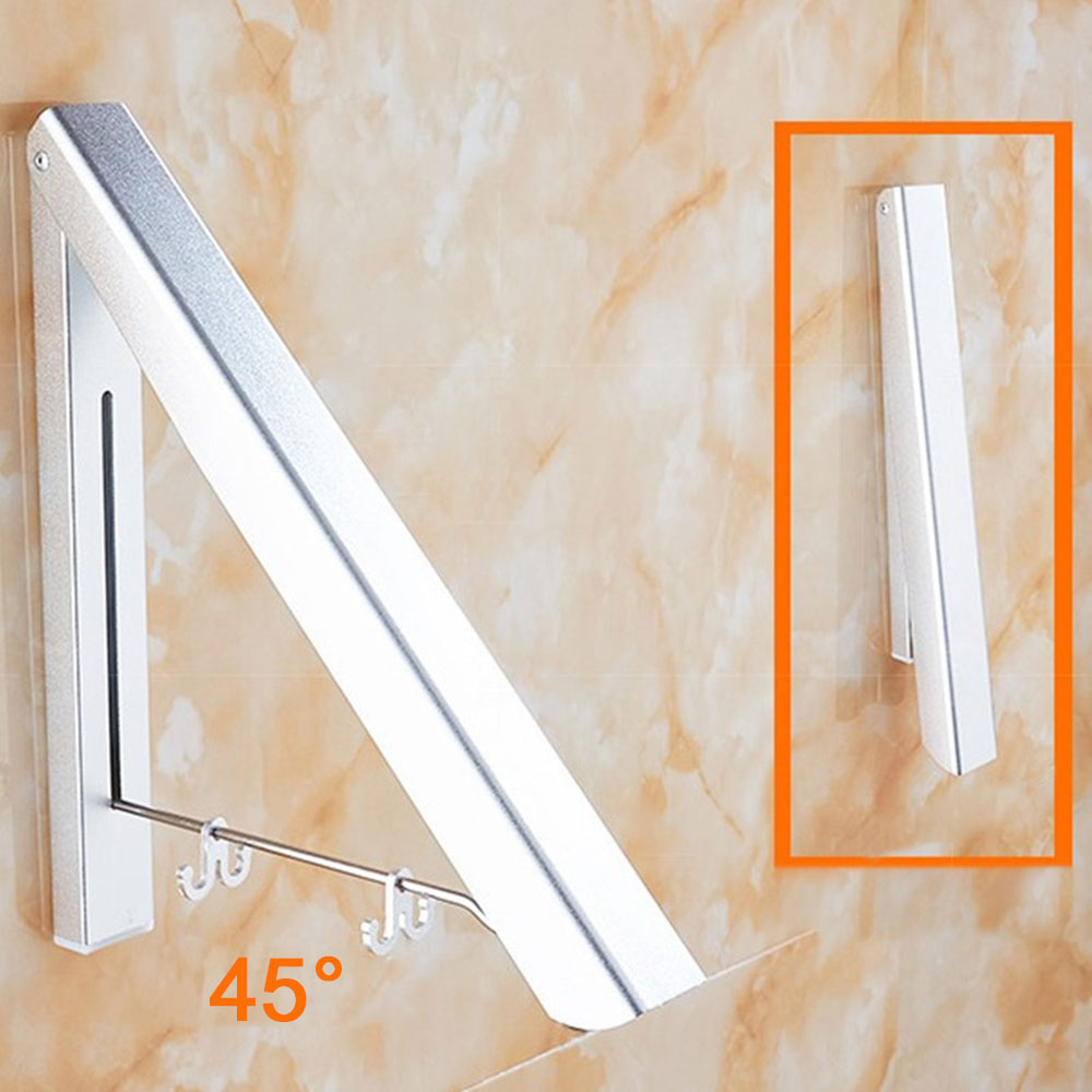 Wall Mounted Solid Aluminium Double Clothes Drying Hanger Foldable Laundry Rack Bathroom Balcony Clothes Hanger Anti-Rust