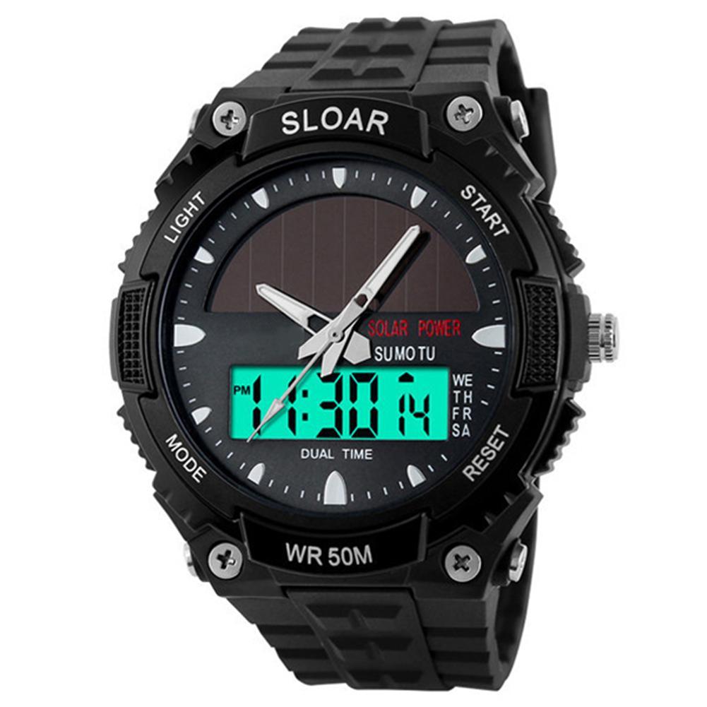 Aktiv Männer Sport Digitale Uhr Militärische Elektronische Armbanduhr Solar Power Dual Zeit Display Wasserdicht Uhr Uhren