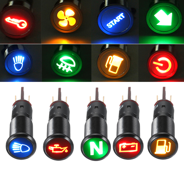 12 V 24 V Metalen 8mm LED Dash Panel Waarschuwingslampje Lamp Signal Light Indicator Licht Auto Boot
