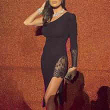 2019 Women Elegant Sexy Black Midi Party Dresses Patchwork One Shoulder Lace Insert Slit Cocktail Bodycon Dress one shoulder mesh insert maxi cocktail prom dress