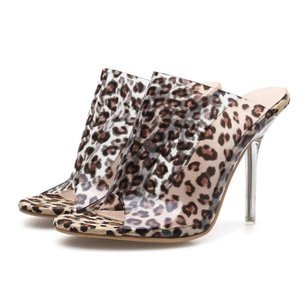 Senhoras da alta-salto alto boca de peixe leopardo confortável respirável transparente chinelos 2019 a primavera eo verão nova teenslippers leren