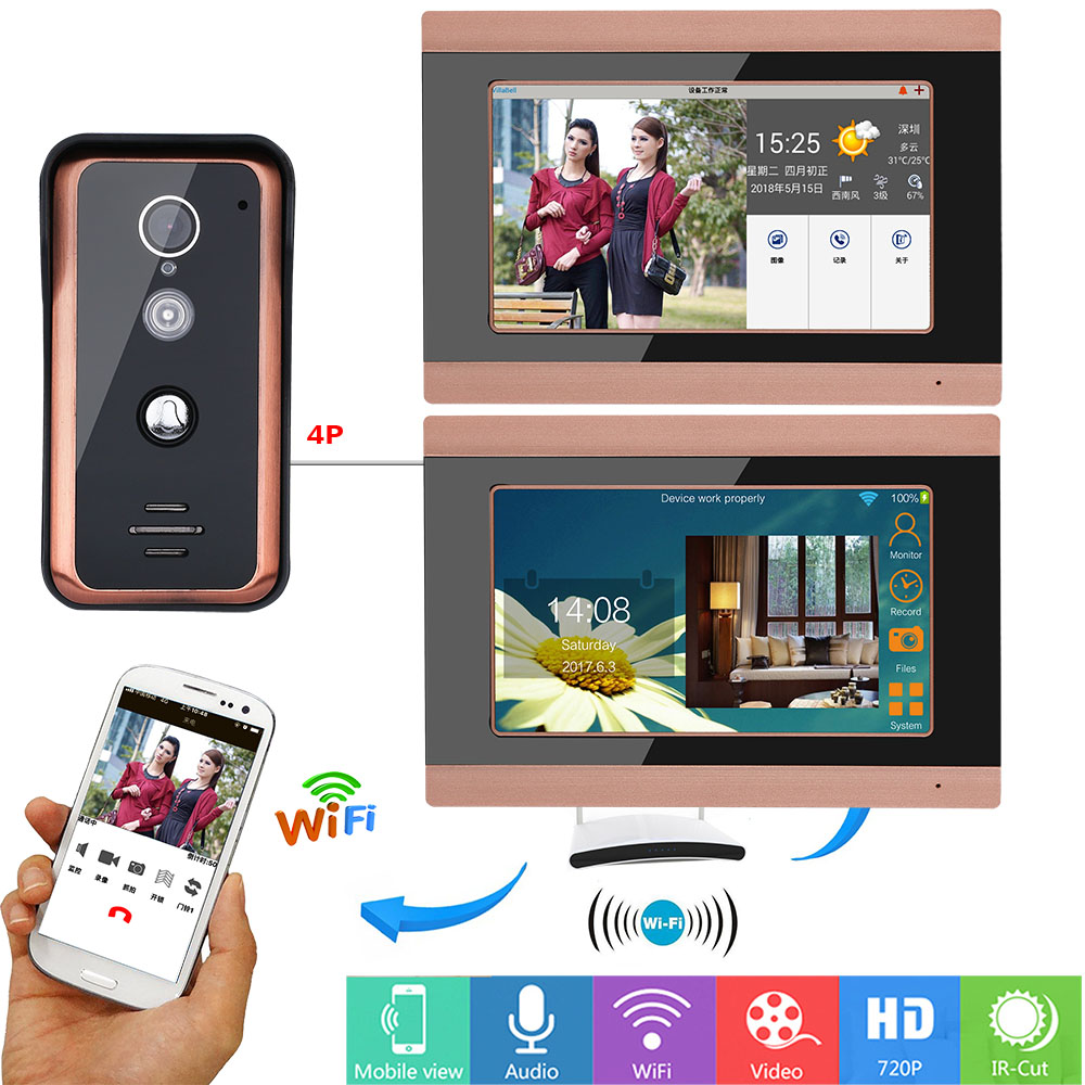 7 inch Wired Wireless Wifi Video Door Phone Doorbell Intercom Entry System with 720P IR-CUT HD 1000TVL Wired Camera 7 inch Wired Wireless Wifi Video Door Phone Doorbell Intercom Entry System with 720P IR-CUT HD 1000TVL Wired Camera