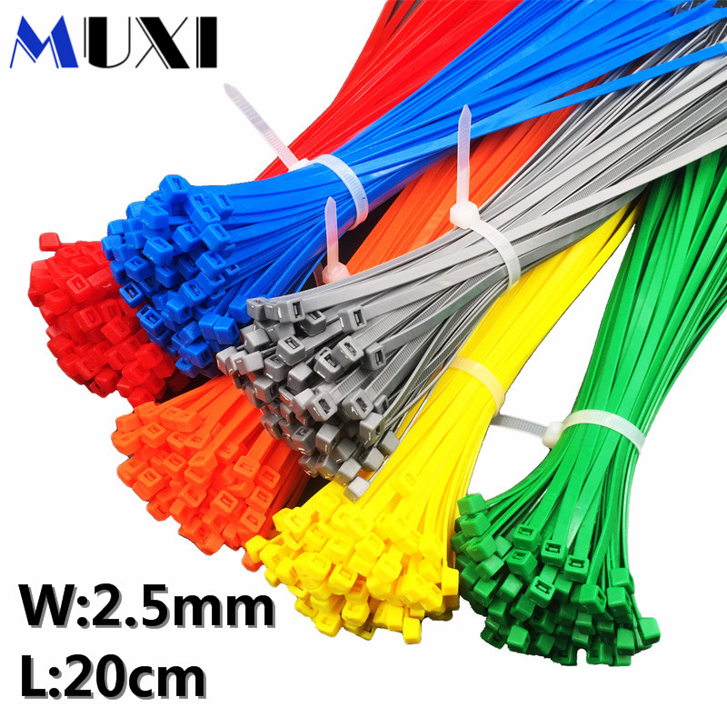 50pcs 3x200 Width 2.5mm Self-Locking White Black Red Blue Yellow Green Nylon Wire Cable Zip Ties.Cable Ties