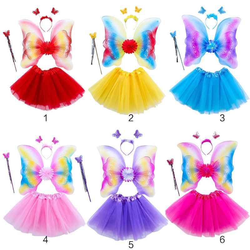 4Pcs Girls Fairy Costume Set Rainbow Butterfly Wings Three Layers Tulle Tutu Skirt Wand Headband Princess Halloween Party 3-8T