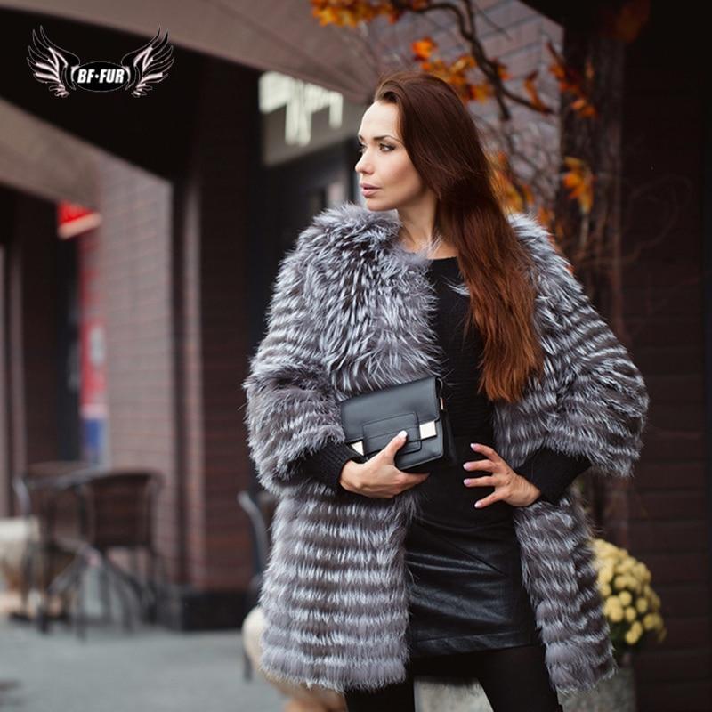 BFFUR Abrigo de piel real Mujeres de lujo Estilo de moda de invierno Chaleco de piel natural Abrigo Mujer Abrigo de piel de zorro plateado Abrigos de piel rusos Slim