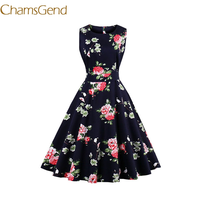 Chamsgend Vintage 1950 s black rose Womens summer Garden Rockabilly Swing Prom Party Cocktail 4XL Plus