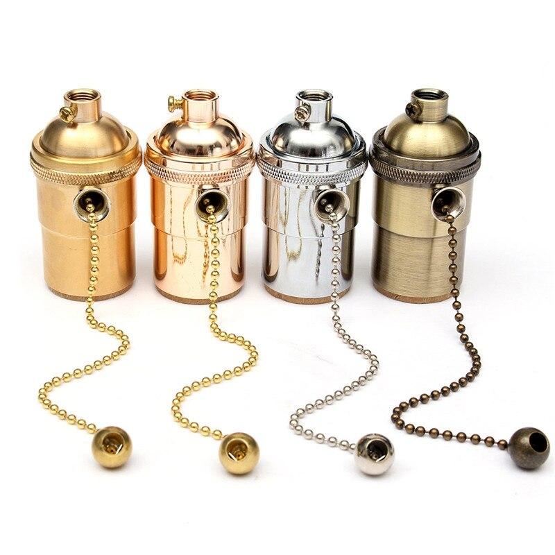 Vintage Edison Lamp Base E27/E26 Solid Brass Ceiling Light Socket Lamp Base Holder Pull Chain Pendants Lighting