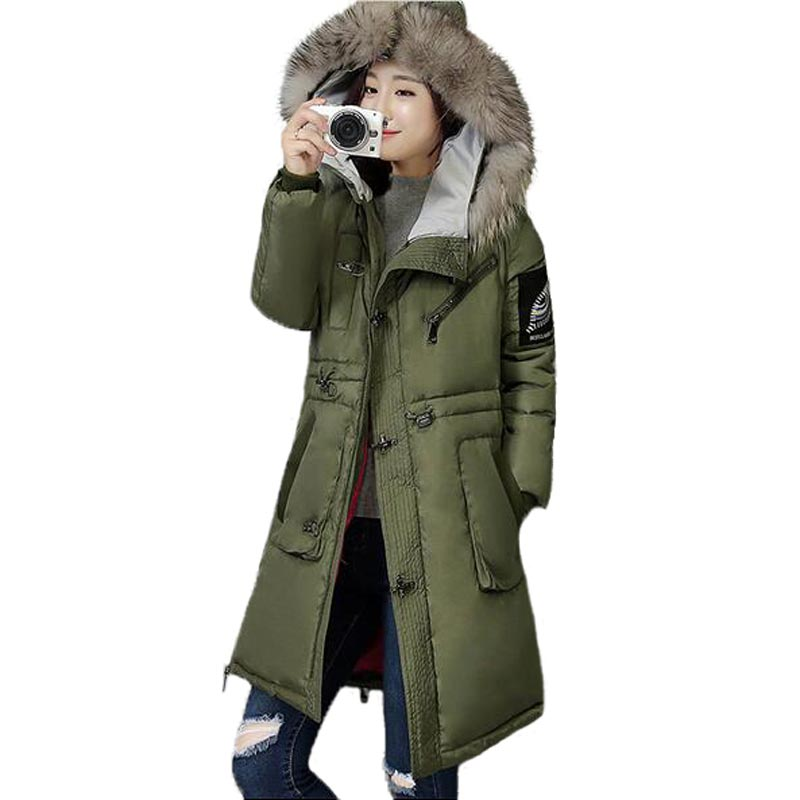 New 2017 Winter Women Hooded Jacket Large Fur Collar Thicken Cotton Coat Patch Long Slim Parkas Plus Size Overcoat PW0303 ftlzz new women winter jacket cotton coat slim large fur collar hooded parkas padded warm thickness medium long black overcoat