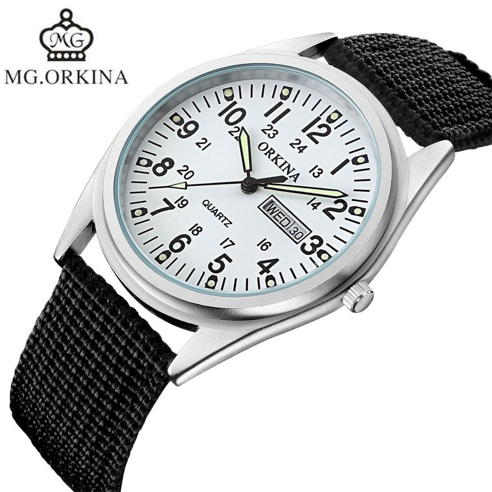 2017 MG.Orkina Fashion Horloges Mannen Watch Men's Day/Week Quartz Nylon Luminous Wristwatch Watches Gift Box Free Ship orkina gold watch 2016 new elegant armbanduhr herrenuhr quarzuhr uhr cool horloges mannen gift box wrist watches for men