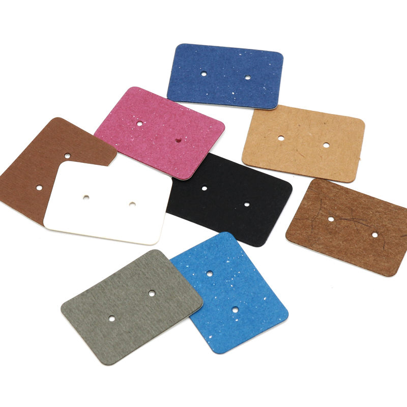 New Product 100Pcs 2.5x3.5cm Blank Kraft Paper Ear Studs Card Hang Tag Jewelry Display Earring Cards Favor Label Tags 9Colors