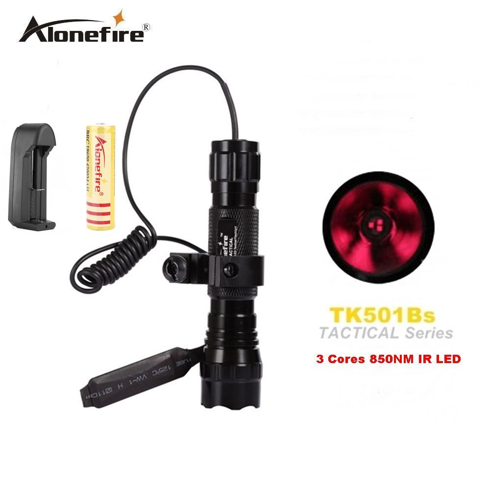 AloneFire 501B LED Flashlight Torch 3 Core 5W 850NM Infrared 18650 Flash Light with Night Vision Instrument Fill Light Function new osram 850nm 5w infrared ir night vision led flashlight torch light 18650 lamp
