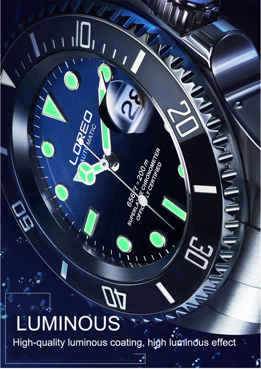 Image 2 - LOREO 200m Diving Automatic Watch Luminous Men Mechanical Men Watches Fashion Brand Relogio Masculino Waterproof Stainless Steel-in Sports Watches from Watches