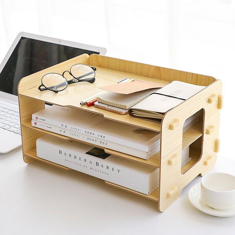 Simple three-tier desktop racks Office documents debris storage management rack Multi-functional storage boxes multi functional stripes three lattice storage hang bags