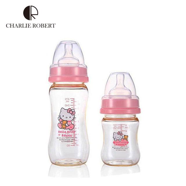 2015 olá Kitty garrafa térmica bebê, 140 ML frasco de Gel de sílica corte, Hk309 Biberon Mamadeira alimentação Bpa mãos