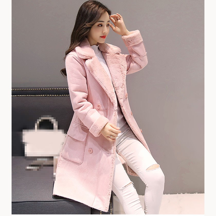 2019 Winter Women Long   Suede   Coats Causal Button Thick Long Sleeve Faux Lambs Wool Jackets Female Warm Double Breasted Coats