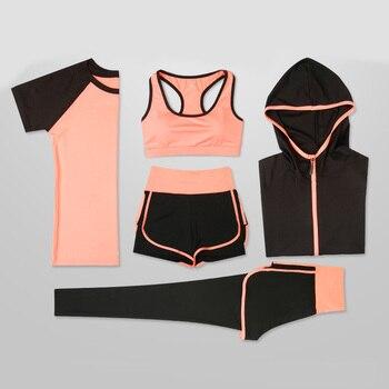 6b46a6fe2c78 Conjuntos de Yoga para mujer cinco piezas 5 conjuntos de ropa femenina ropa  de gimnasio para mujer ropa deportiva entrenamiento deportivo ropa de ...