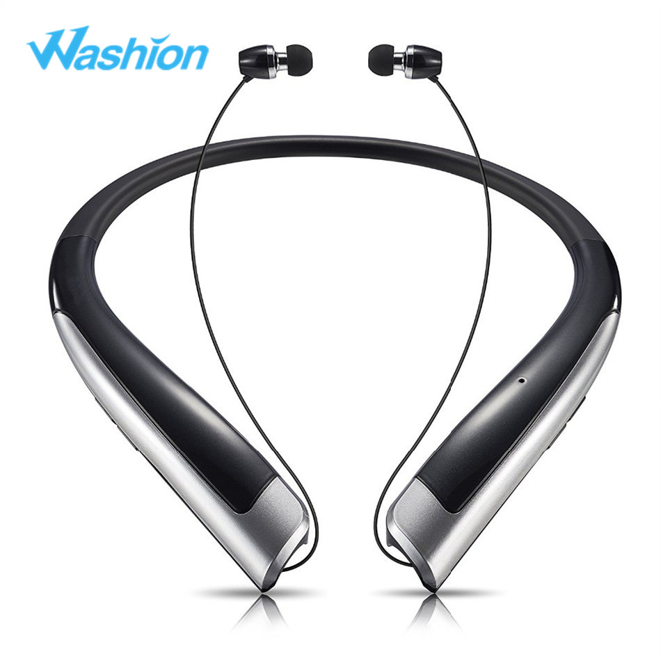 Washion Neckband Sports Headphones Wireless Bluetooth 4.1 Headset With Mic Bass Stereo Earphone Noise Canceling magnet metal sports bluetooth earphone wireless earbud stereo headset with mic neckband headset portable for iphone 7 samsung s8
