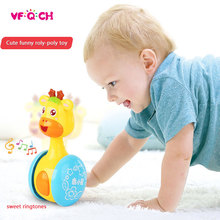 Funny Baby Rattles Giraffe Tumbler Moveable Sweet Bell Music Roly-Poly Tilting Toys Teethers Doll Infant Educational Kids Gift