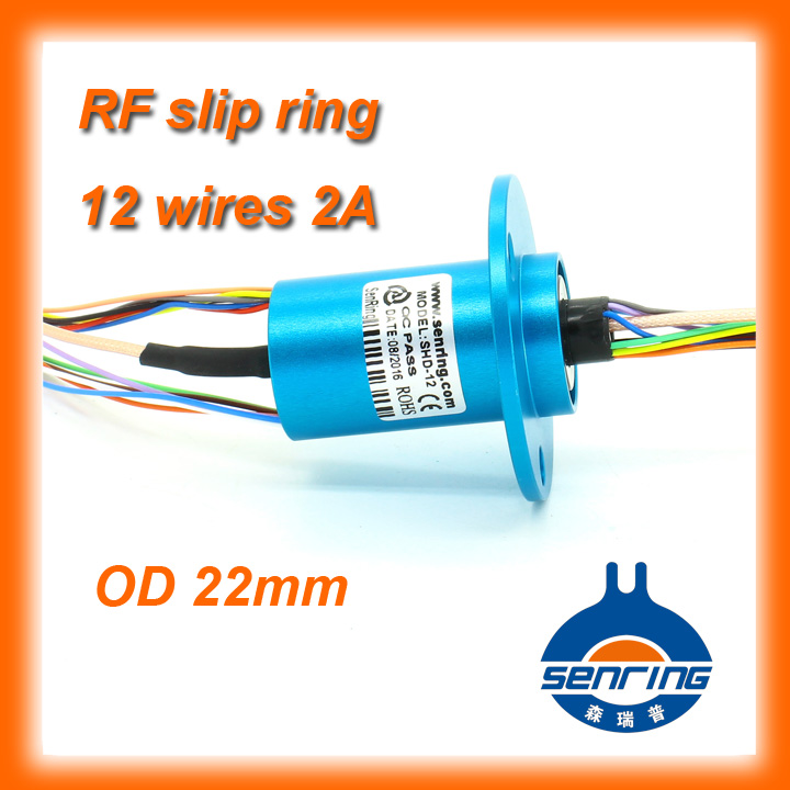 1 Channel HD RF coaxial cable with 12 circuits 2A capsule slip ring OD 22mm цена