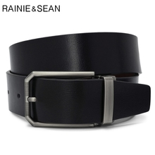 RAINIE SEAN Leather Pants Belt Men Genuine Pin Buckle Alloy Solid Black Smart Casual Retro Male Strap