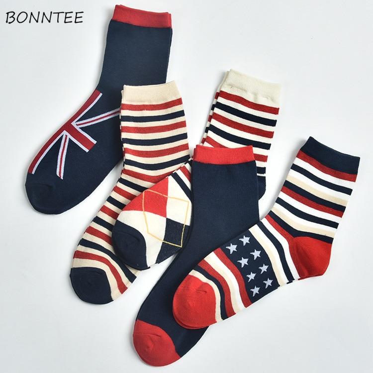 Socks Women Warm Cotton Printed High Elasticity Trendy England Style Womens Comfortable Soft Sock Striped Breathable Elegant New