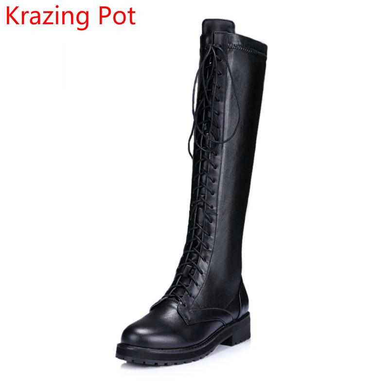 2018 Fashion Genuine Leather Round Toe Thick Heel Lace Up Winter Boots Keep Warm Punk Over-the-knee Cowboy Thigh-high Boots L12 ppnu woman winter nubuck genuine leather over the knee snow boots women fashion womens suede thigh high boots ladies shoes flats