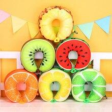 1 шт., 6 цветов, фруктовая u-образная Подушка, милая креативная фруктовая подушка для шеи с поролоновыми частицами, арбузная подушка для автомобильных путешествий на шею