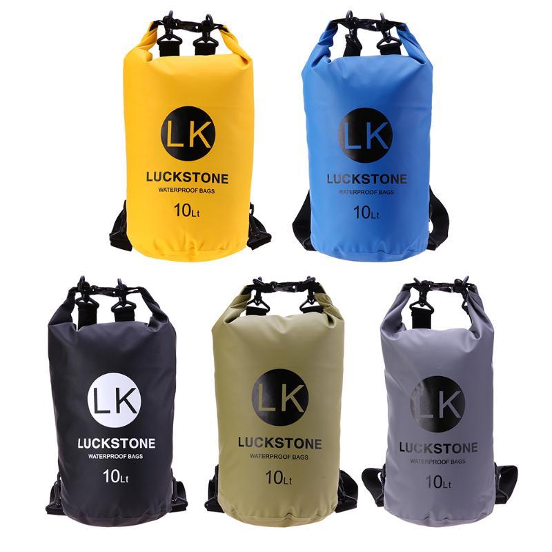 10L Outdoor Swimming Waterproof Dry Bag Camping Rafting Storage Dry Sack Bag+Adjustable Strap Hook Swim Storage Backpack bolsa