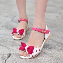 Fille Enfants Sandales En Cuir 2016 De Mode Sandales Enfants Filles Chaussures D'été Arc & Dot Enfant Sandales Bleu et Noir et rose et Rouge Chaussures Filles